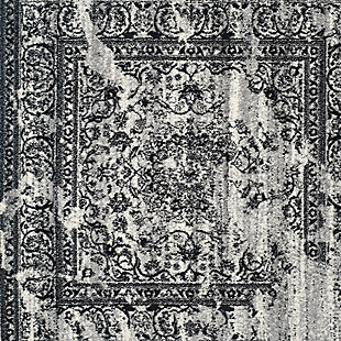 "Distressed 5'1"" x 7'6"" Area Rug, Gray/Black, large"