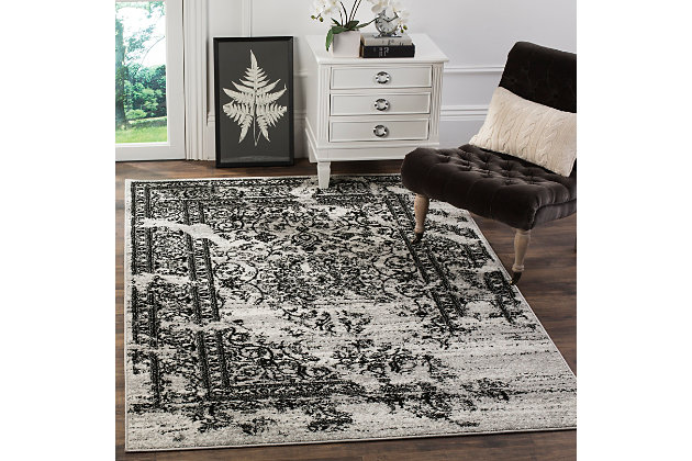 "Distressed 5'1"" x 7'6"" Area Rug, Gray/Black, large"