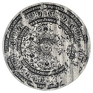 Distressed 8' x 8' Round Rug, Gray/Black, large