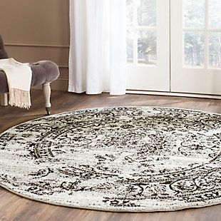 Distressed 8' x 8' Round Rug, Gray/Black, rollover