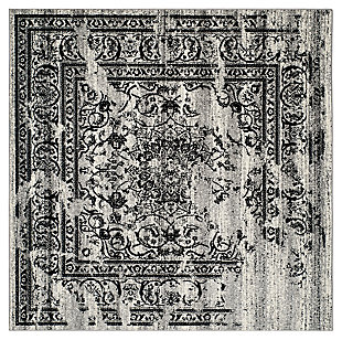 Distressed 8' x 8' Square Rug, Gray/Black, large