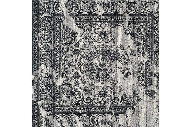 Distressed 8' x 8' Square Rug, Gray/Black, large