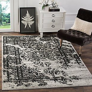 Distressed 8' x 8' Square Rug, Gray/Black, rollover