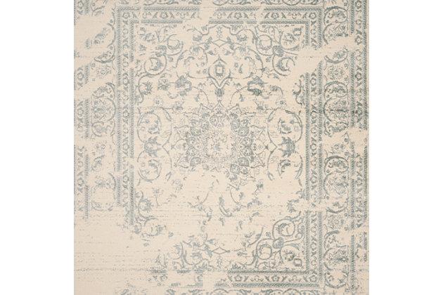 Distressed 6' x 9' Area Rug, Gray/Black, large