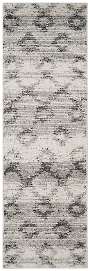 "Distressed 2'6"" x 12' Runner Rug, Gray, large"