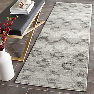 "Distressed 2'6"" x 12' Runner Rug, Gray, rollover"