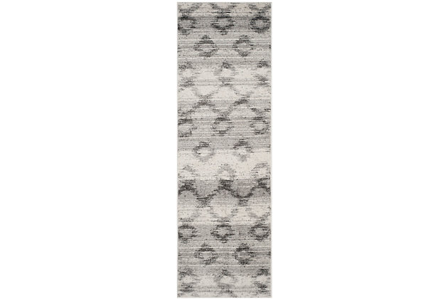 """Distressed 2'6"""" x 8' Runner Rug, Gray, large"""