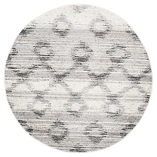 Power Loomed 4' x 4' Round Rug, Gray, large