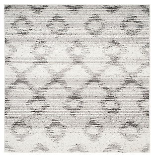 Power Loomed 6' x 6' Square Rug, Gray, large