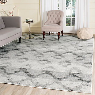 Power Loomed 6' x 6' Square Rug, Gray, rollover