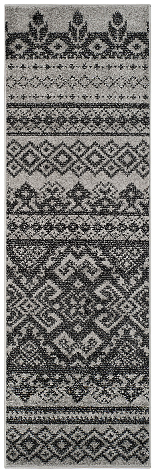 "Power Loomed 2'6"" x 22' Runner Rug, Gray/Black, large"