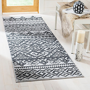 "Power Loomed 2'6"" x 22' Runner Rug, Gray/Black, rollover"