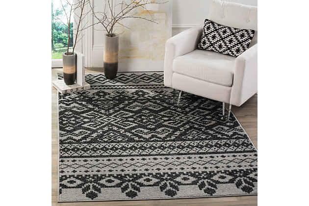 Power Loomed 4' x 6' Area Rug, Gray/Black, large