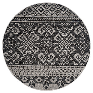 Power Loomed 4' x 4' Round Rug, Gray/Black, large