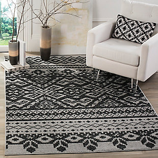 Power Loomed 8' x 10' Area Rug, Gray/Black, rollover