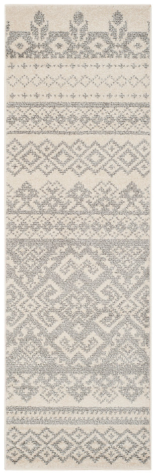 "Power Loomed 2'6"" x 22' Runner Rug, Gray/White, large"