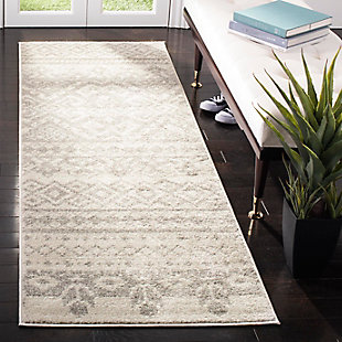 "Power Loomed 2'6"" x 22' Runner Rug, Gray/White, rollover"