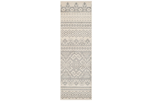 "Power Loomed 2'6"" x 8' Runner Rug, Gray/White, large"