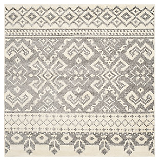 Power Loomed 4' x 4' Square Rug, Gray/White, rollover