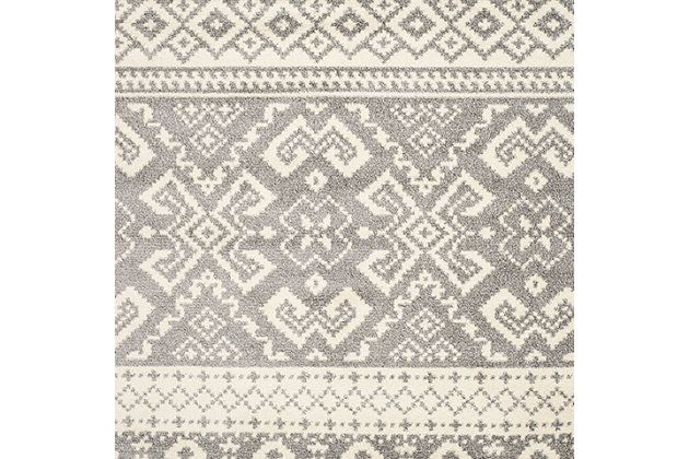 Power Loomed 4' x 4' Square Rug, Gray/White, large