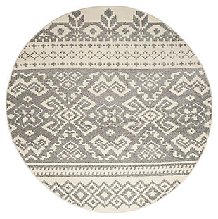 Power Loomed 6' x 6' Round Rug, Gray/White, large