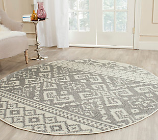 Power Loomed 6' x 6' Round Rug, Gray/White, rollover