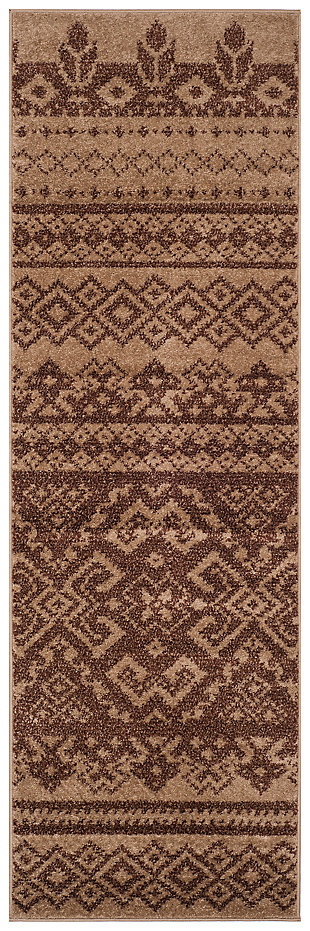 "Power Loomed 2'6"" x 6' Runner Rug, Brown, large"