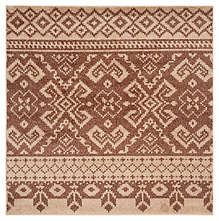 Power Loomed 6' x 6' Square Rug, Brown, large