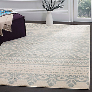 "Power Loomed 5'1"" x 7'6"" Area Rug, Gray/White, rollover"
