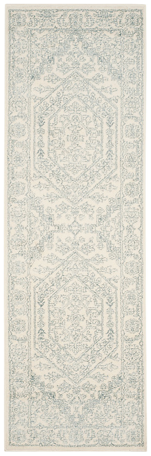"Accessory 2'6"" x 10' Runner Rug, Gray/White, large"