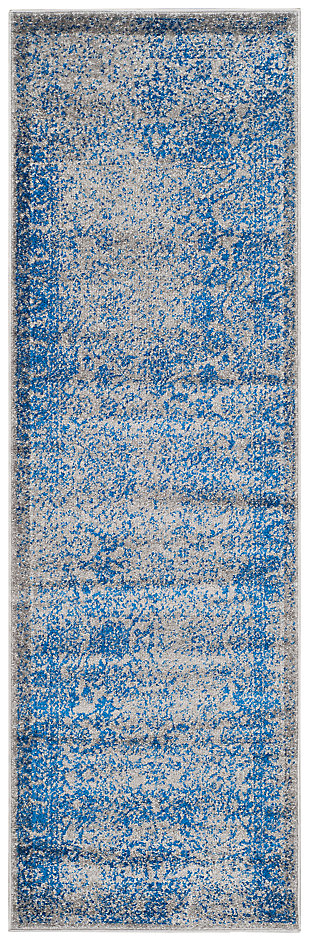 "Accessory 2'6"" x 20' Runner Rug, Blue/Gray, large"