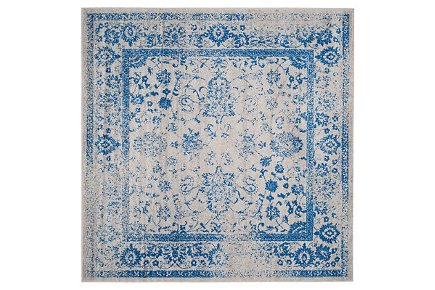 Accessory 8' x 8' Square Rug, Blue/Gray, large