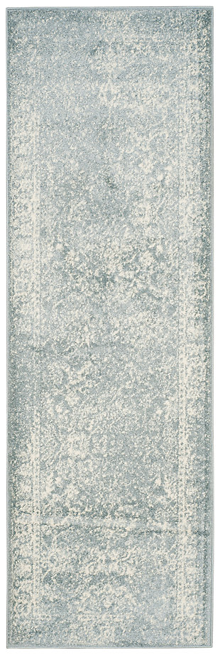 "Accessory 2'6"" x 6' Runner Rug, Gray/White, large"