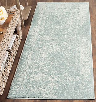 "Accessory 2'6"" x 8' Runner Rug, Gray/White, rollover"