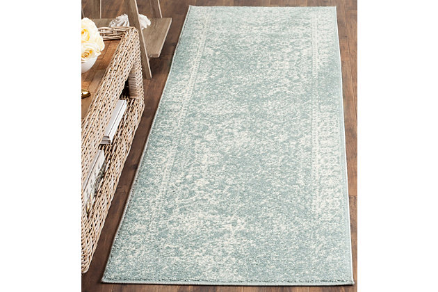 "Accessory 2'6"" x 8' Runner Rug, Gray/White, large"