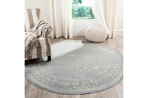 Accessory 8' x 8' Round Rug, Gray/White, large