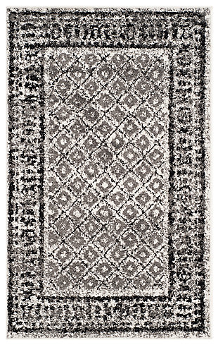 Power Loomed 4' x 6' Area Rug, Gray/White, large