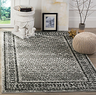 Power Loomed 4' x 6' Area Rug, Gray/White, rollover