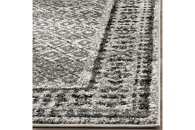 Power Loomed 6' x 9' Area Rug, Gray/White, large