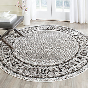Power Loomed 8' x 8' Round Rug, Gray/White, rollover