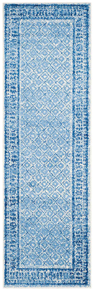 "Power Loomed 2'6"" x 8' Runner Rug, Blue, large"