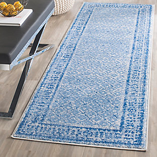 "Power Loomed 2'6"" x 8' Runner Rug, Blue, rollover"