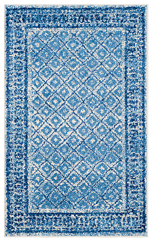 Power Loomed 4' x 6' Area Rug, Blue, rollover