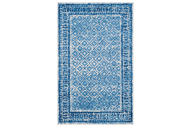 Power Loomed 4' x 6' Area Rug, Blue, large