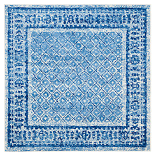 Power Loomed 6' x 6' Square Rug, Blue, large