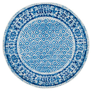 Power Loomed 8' x 8' Round Rug, Blue, large