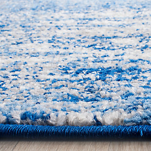 "Abstract 2'6"" x 22' Runner Rug, Blue, rollover"