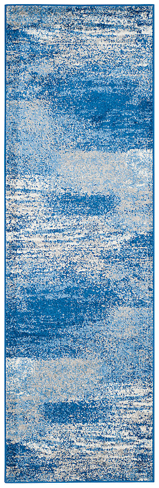 "Abstract 2'6"" x 22' Runner Rug, Blue, large"