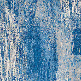 """Abstract 2'6"""" x 22' Runner Rug, Blue, large"""