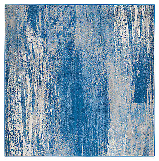 Abstract 6' x 6' Square Rug, Blue, large
